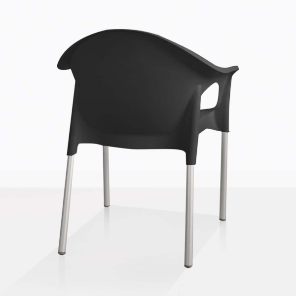 Liz Black Plastic Cafe Dining Chair Side