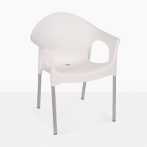 Liz Cafe white rounded plastic outdoor dining chair angle view