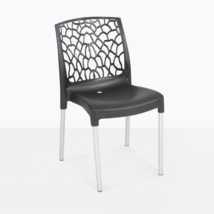 Suzi cafe black plastic lace outdoor dining chair angle view
