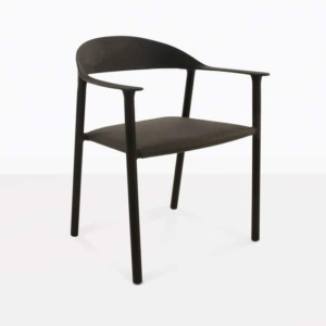 Gypsy modern black outdoor dining chair angle view