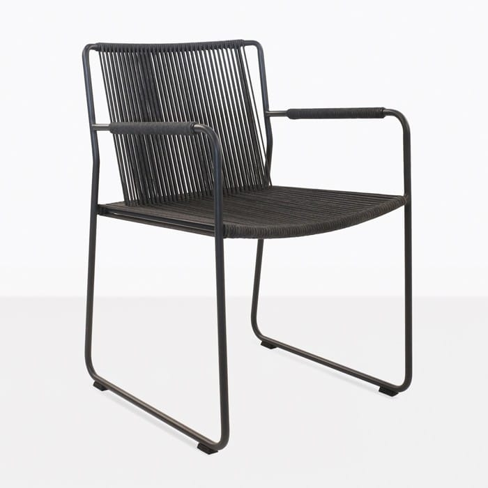 Nero black rope and steel dining arm chair angle view