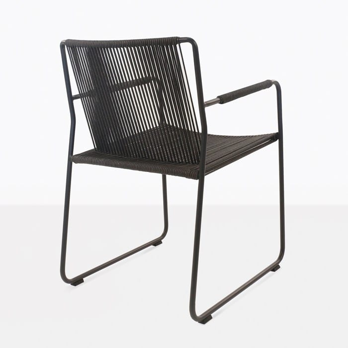 Nero rope and steel dining chair back view