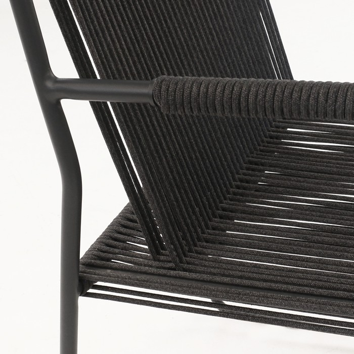 Nero rope and steel dining chair closeup photo