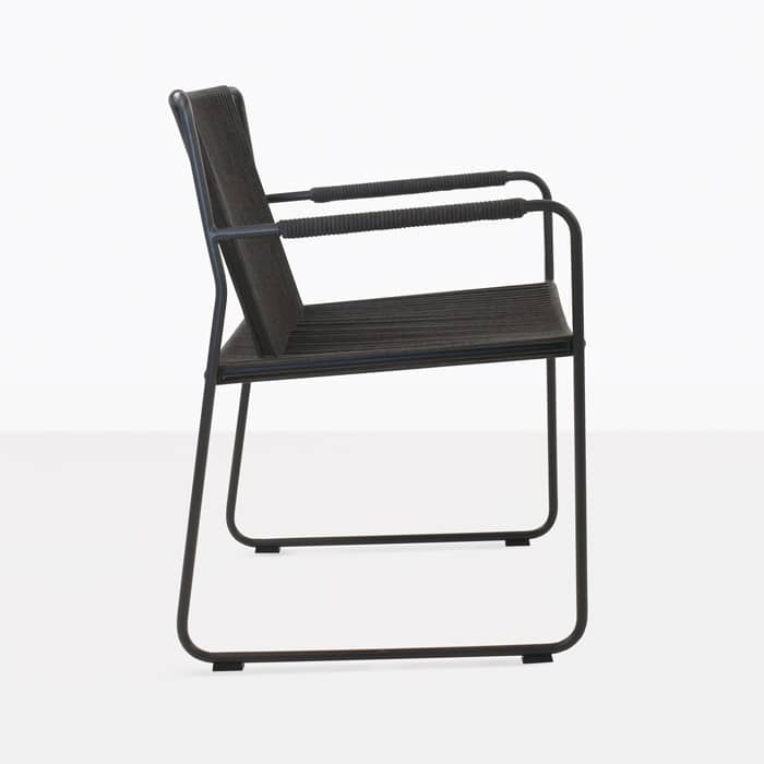 Nero rope and steel dining chair side view