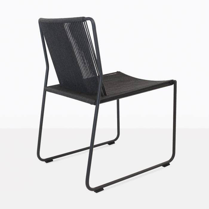 Nero rope and powder coated steel dining chair angle view