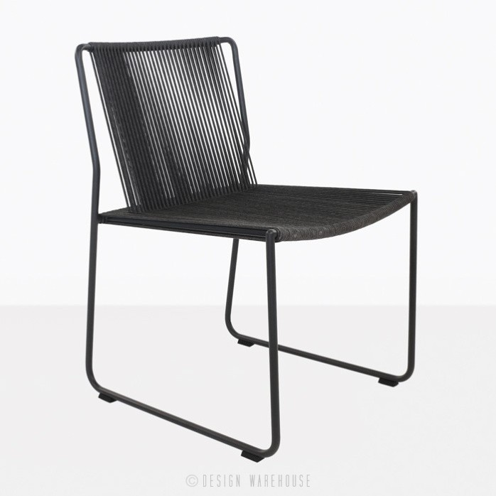Nero black rope and steel dining chair angle view