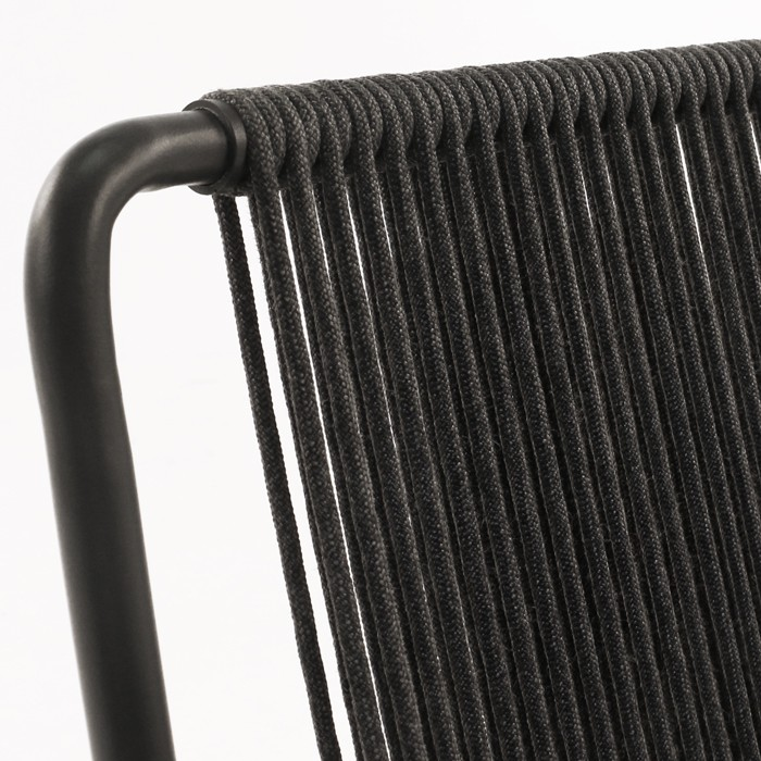 Nero black rope and steel chair closeup image