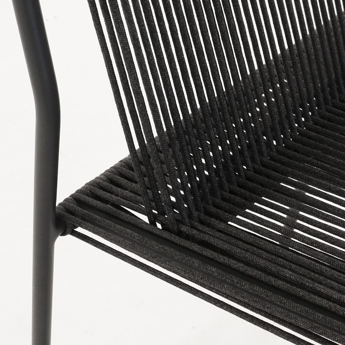 Nero woven rope chair closeup black