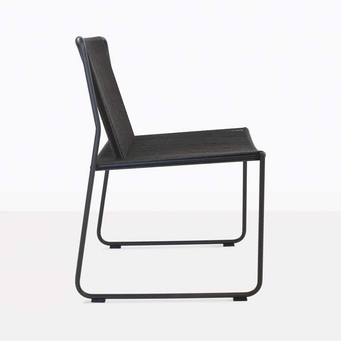 Nero black rope and steel outdoor dining chair side view