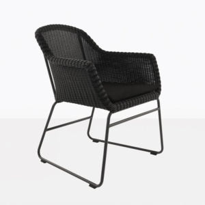 Harbour black wicker dining chair angle view