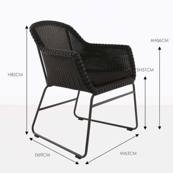 harbour black wicker dining chair