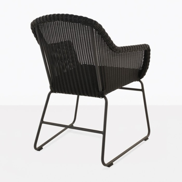 Harbour black wicker dining chair back view
