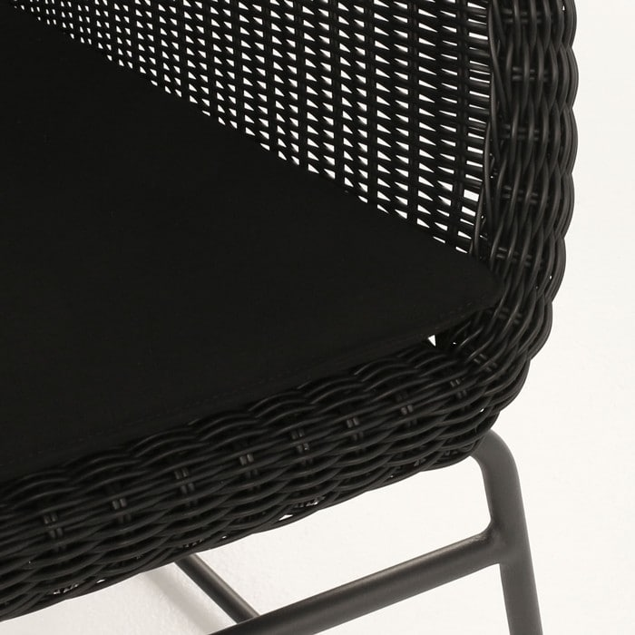 Harbour black wicker chair closeup image with cushion