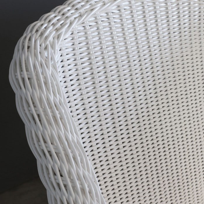 Harbour white wicker weave closeup view