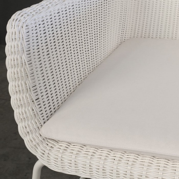 Harbour white wicker chair with cushion closeup image