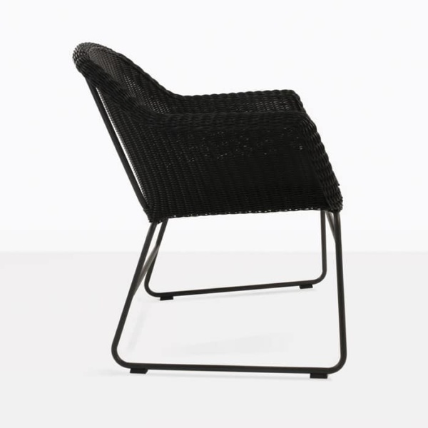 Harbour black wicker dining chair side view