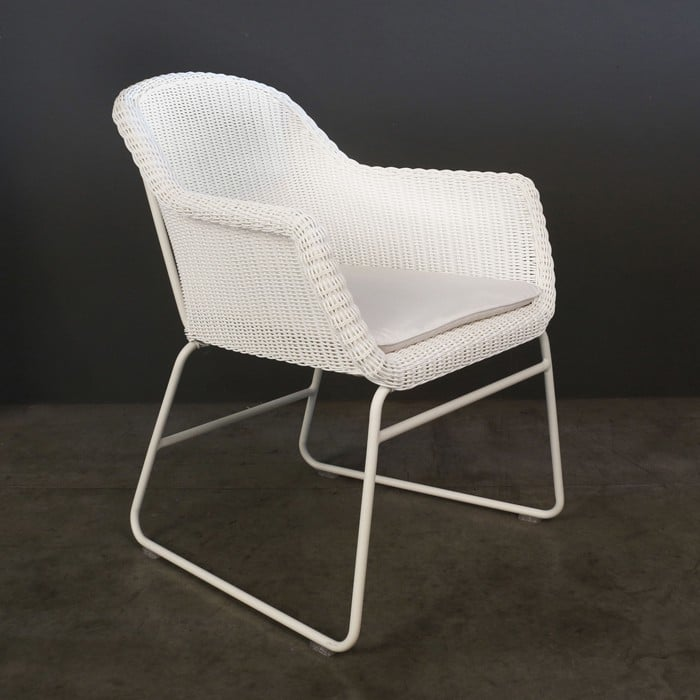 Harbour white wicker dining chair angle view
