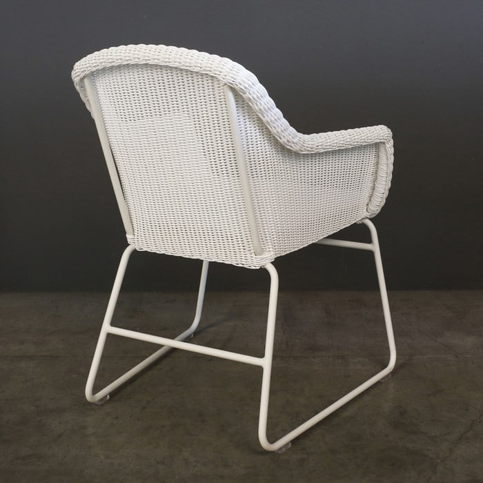 Harbour white wicker dining chair back view