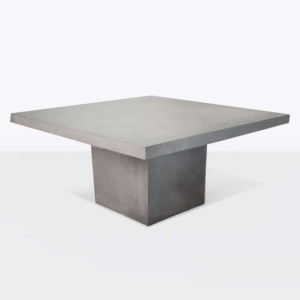 raw concrete square pedestal dining table 160cm