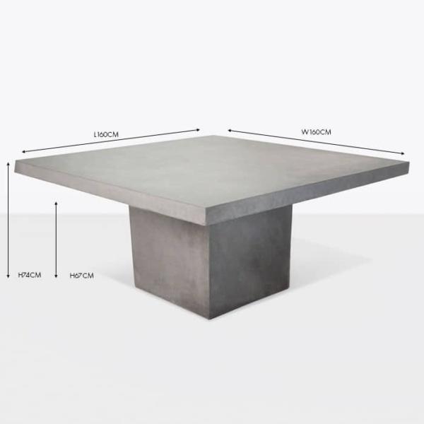concrete square pedestal dining table