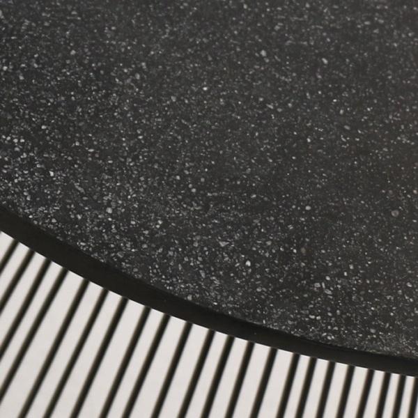deco round side table black sand closeup image