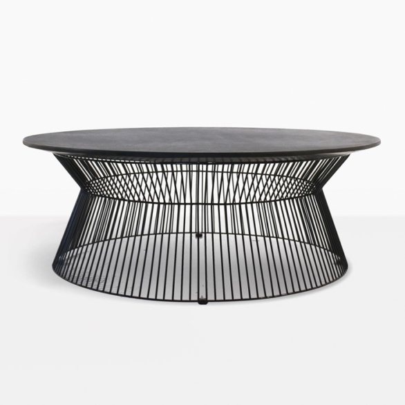 deco round black coffee table black sand full view