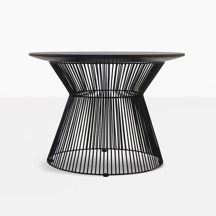 deco round side table black sand front view