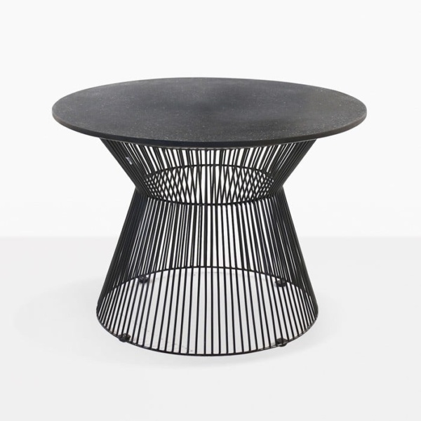 black round outdoor side table front angle