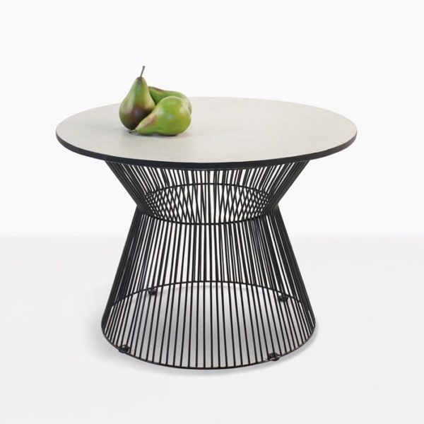 black round side table with fruit