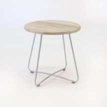 East Driftwood Side Table Galvanized metal base angle