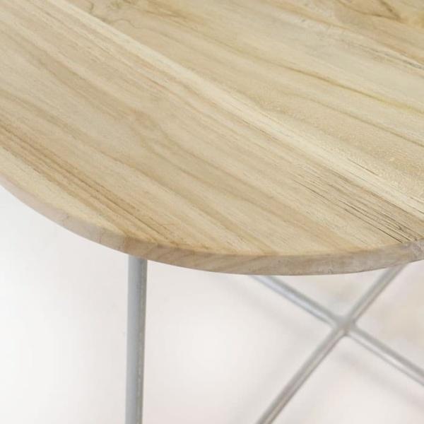East Driftwood Side Table Galvanized base 3147 closeup