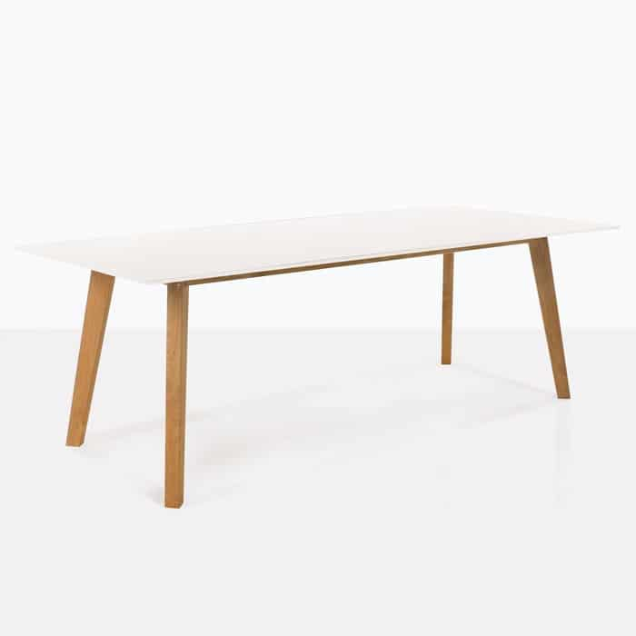 teak and laminate outdoor dining table white