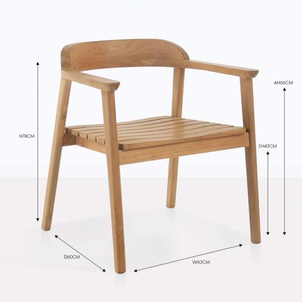 neil teak arm dining chair