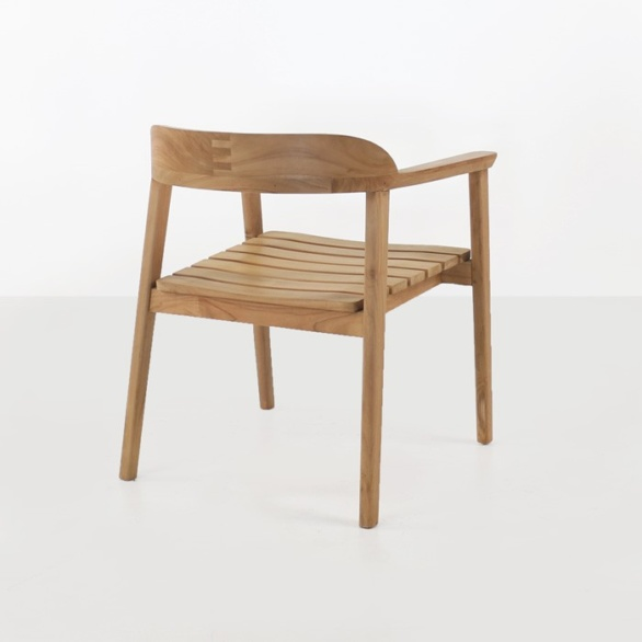 ... Neil Teak Outdoor Dining Chair Back View ...