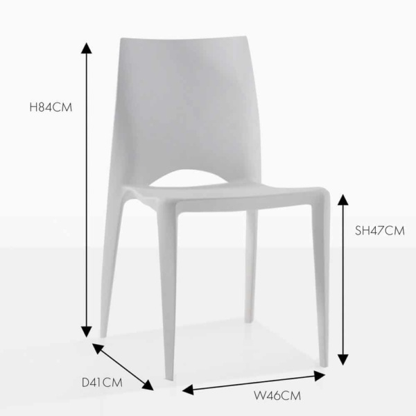 Stiletto grey side outdoor dining chair