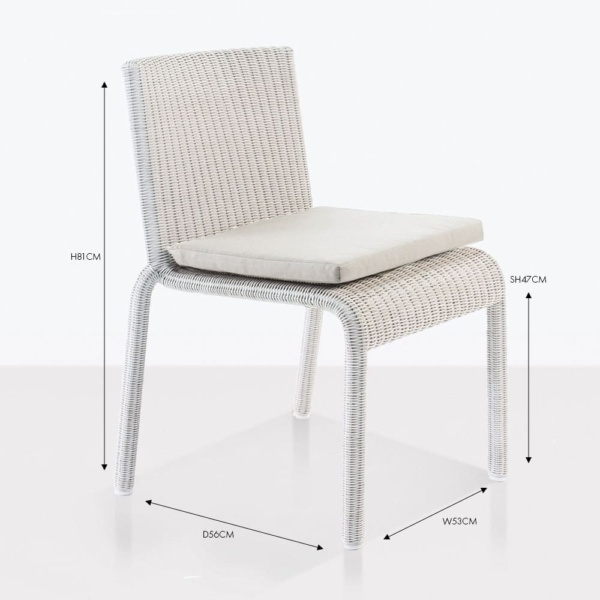 zambezi chalk wicker side dining chair