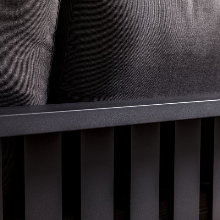 mykonos left arm aluminum loveseat in charcoal closeup view