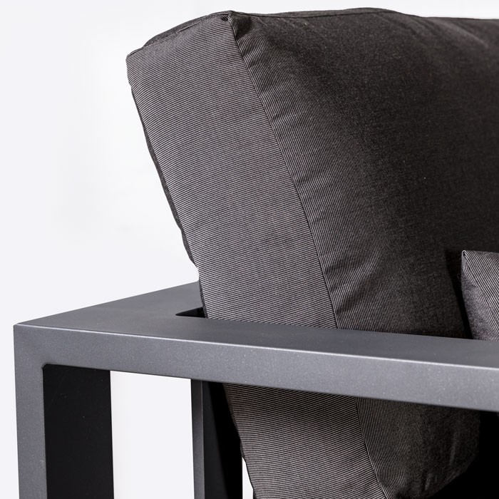 mykonos aluminum sofa in charcoal arm closeup angle view