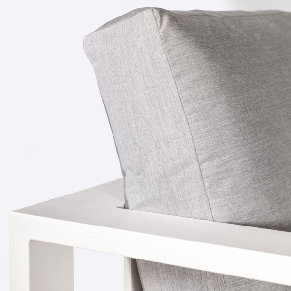 mykonos aluminium couch in white arm closeup angle view