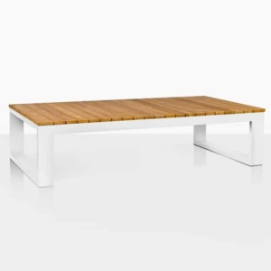 Mykonos Aluminium and Teak Rectangle Coffee Table angle view