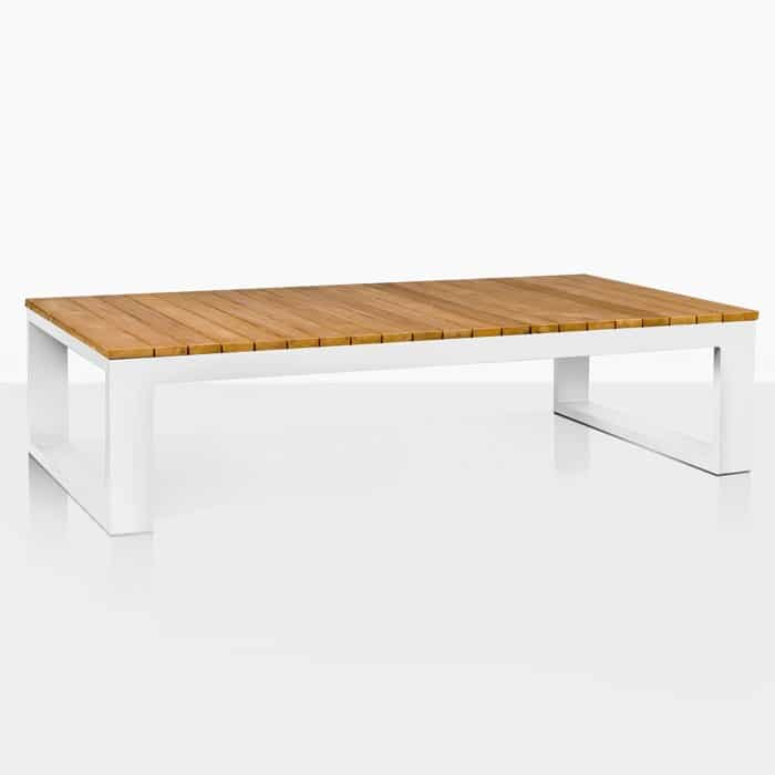 Mykonos Aluminum and Teak Rectangle Coffee Table angle view