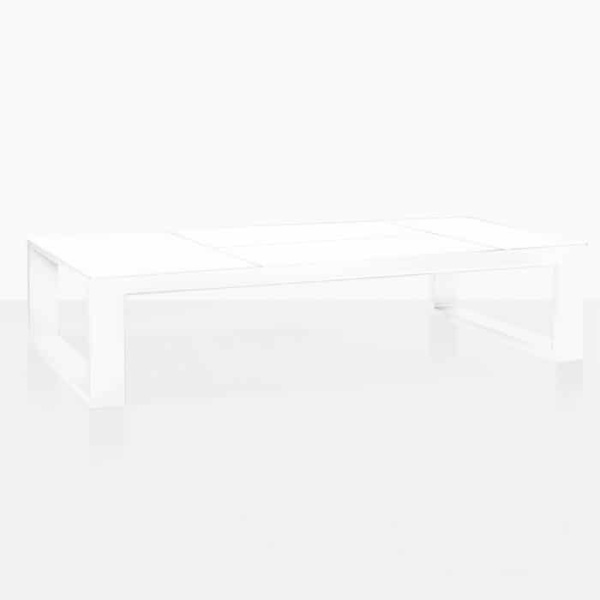 Lift Aluminium Outdoor Coffee Table in white angle view