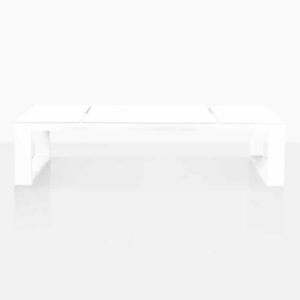 Lift Coffee Table in white powder coated aluminium front view