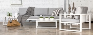 Mykonos Aluminium Outdoor Furniture Collection in White and grey