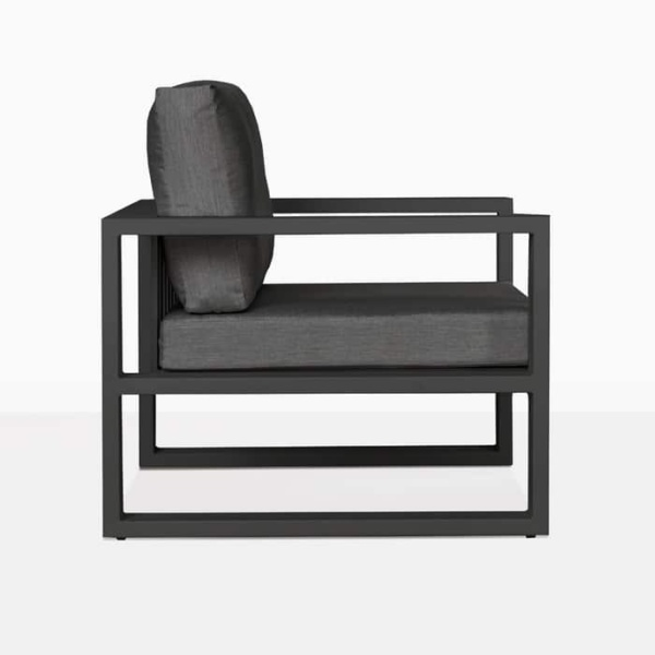 mykonos aluminium club chair in charcoal side view
