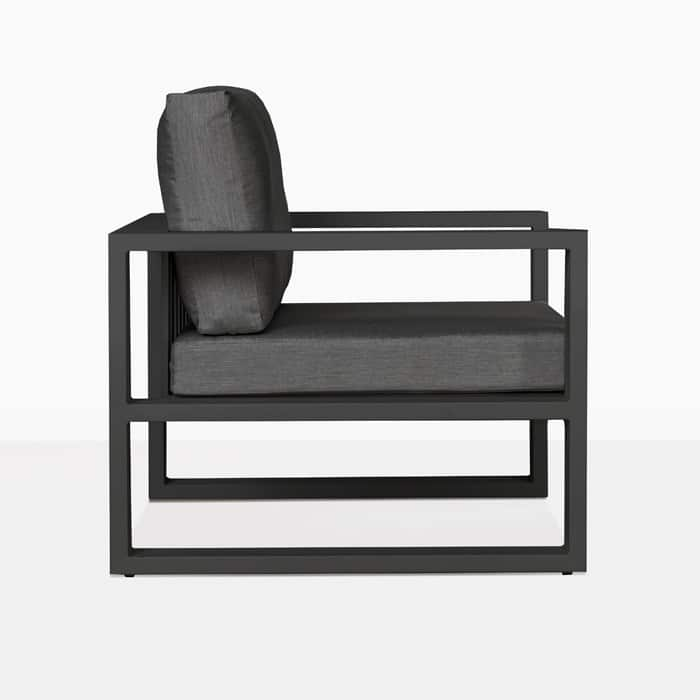 mykonos aluminum club chair in charcoal side view