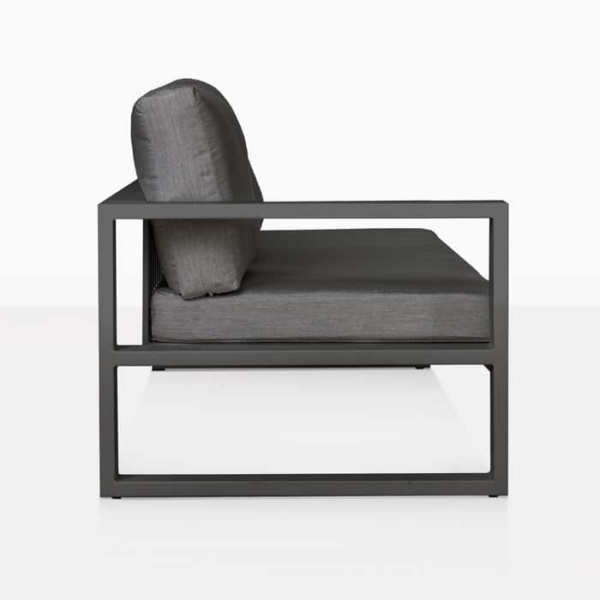 mykonos right arm aluminium loveseat in charcoal side view