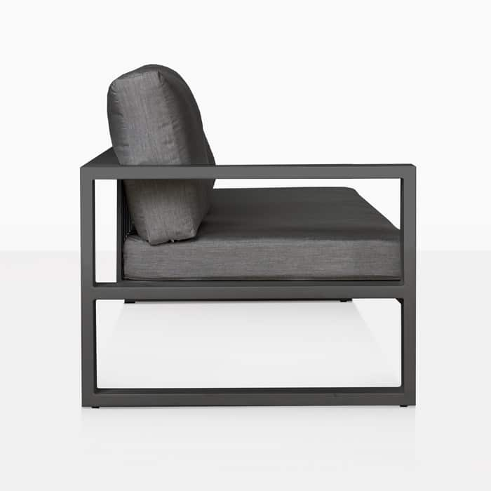 mykonos right arm aluminum loveseat in charcoal side view