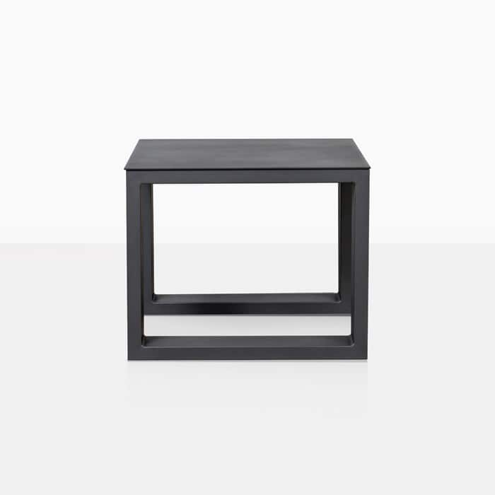 mykonos side table in charcoal straight view