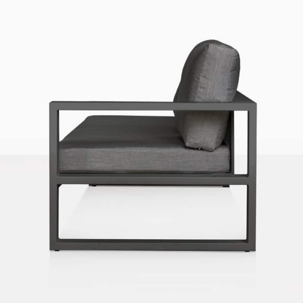 mykonos aluminium left arm sofa in charcoal black side view